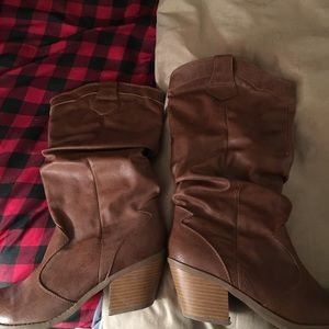 Charlotte Russe slouchy cowgirl boots size 9